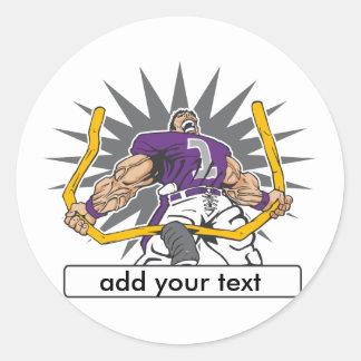 Custom Football Player Purple Round Sticker