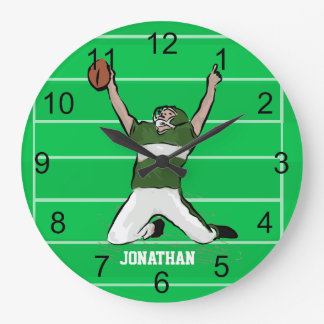 Custom Football Player Touchdown Green and White Large Clock