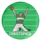 Custom Football Player Touchdown Green and White Plate