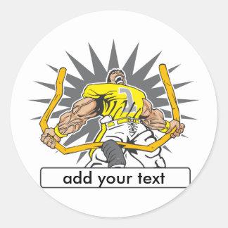 Custom Football Player Yellow Round Sticker