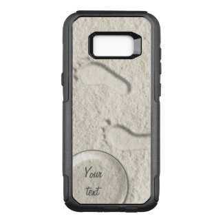 Custom footprint/footprints on sandy beach design OtterBox commuter samsung galaxy s8+ case