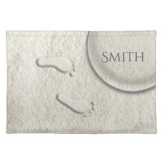 Custom footprint/footprints on sandy beach design placemat