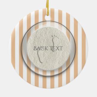 Custom footprint/footprints on sandy beach design round ceramic decoration