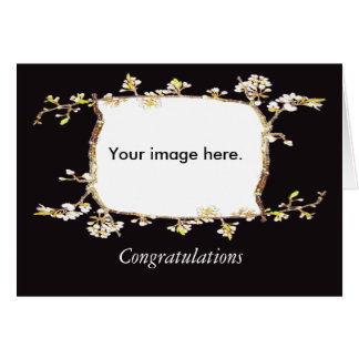 Custom frame of plum blossom , twigs, and buds greeting card