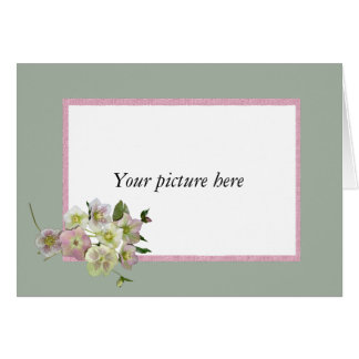 Custom frame with bunch of Hellebore flowers. Greeting Card