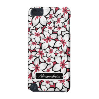 Custom Frangipani Pattern Fuchsia Pink and White iPod Touch (5th Generation) Cases