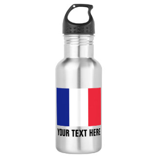 Custom French flag water bottles for France