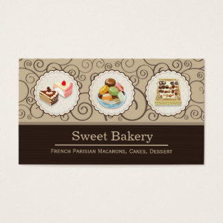 Custom French Parisian Macarons Chocolate Store Business Card