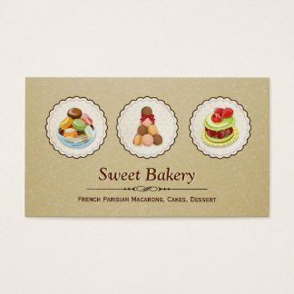Custom French Parisian Macarons Dessert Bake Store Business Card