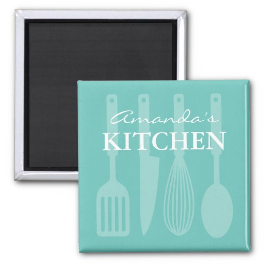 Custom fridge magnet with kitchen cooking utensils