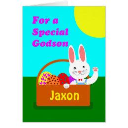 Godson easter gifts on zazzle uk custom front easter for godson cute bunny card negle Choice Image