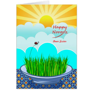 Custom Front Happy Norooz for Sister, Sabzeh Grass Card