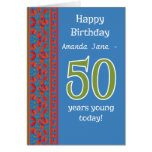 Custom Front Red Field Poppies 50th Birthday Card