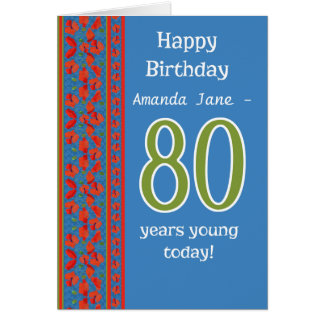Custom Front Red Field Poppies 80th Birthday Card