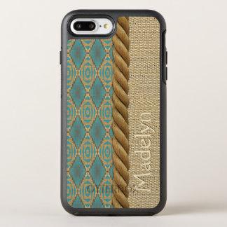 Custom Fun Ethnic Turquoise Brown Mosaic Pattern OtterBox Symmetry iPhone 8 Plus/7 Plus Case