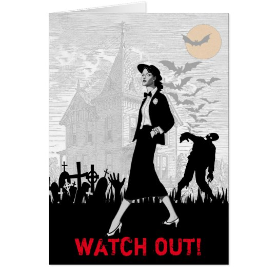 Custom Fun Retro Zombie Halloween Female Birthday Card