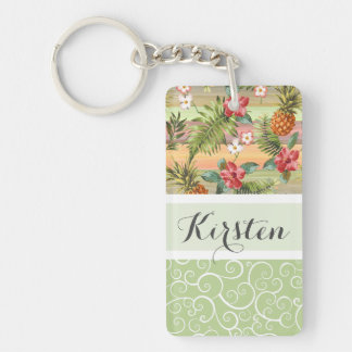 Custom Fun Tropical Pineapple Fruit Floral Pattern Key Ring