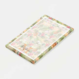 Custom Fun Tropical Pineapple Fruit Floral Pattern Post-it Notes
