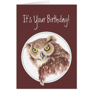 Custom Funny Birthday Owl with Attitude Bird Humor Greeting Card