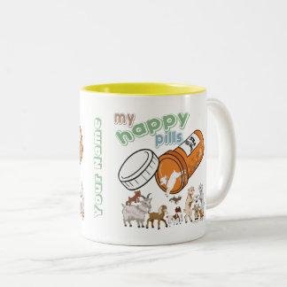 CUSTOM FUNNY GOAT   My Happy Pills GetYerGoat Two-Tone Coffee Mug