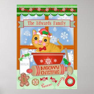 Custom Funny Merry Christmas Cat Baking Poster