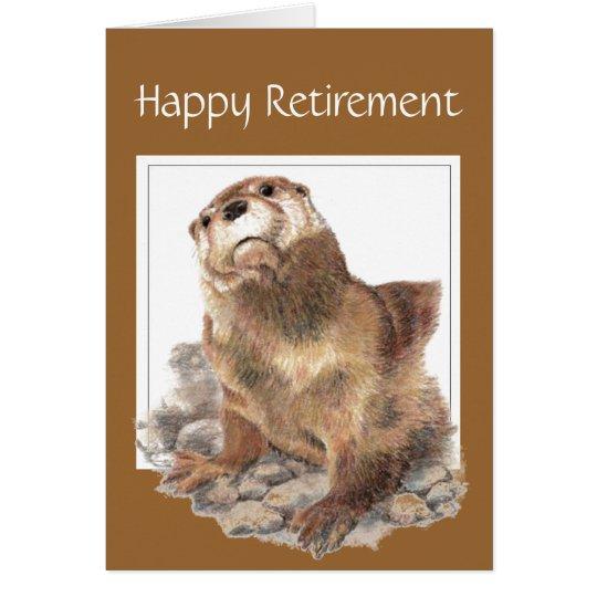 Custom, Funny Retirement, Otter, Watercolor Animal Card