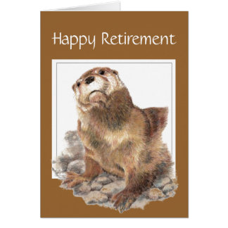 Custom, Funny Retirement, Otter, Watercolor Animal Greeting Card
