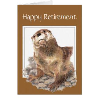 Custom, Funny Retirement, Otter, Watercolor Animal Greeting Card