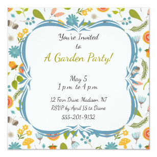 garden party invitations announcements zazzle uk. Black Bedroom Furniture Sets. Home Design Ideas