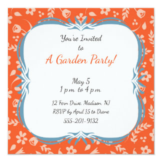 Custom Garden Party Invitation Orange Floral
