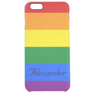 Custom Gay Pride LGBT Rainbow Flag Clear iPhone 6 Plus Case