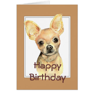 Custom General Birthday Watercolor Chihuahua Dog Greeting Card
