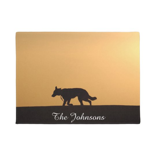 Custom German Shepherd Dog Silhouette Sunset Doormat