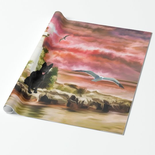 Custom German Shepherd Lighthouse wrapping paper