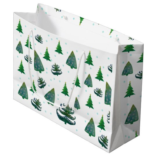 Custom Gift Bag - Large, Glossy Christmas Trees