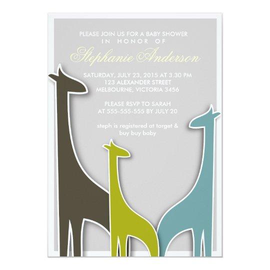 Custom giraffe baby boy shower invitation