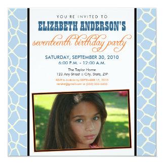 ":custom: Giraffe Print Birthday Party Invitation 5.25"" Square Invitation Card"