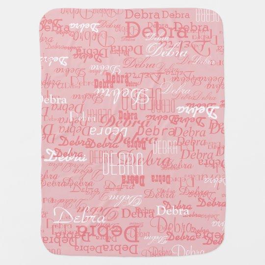 custom girl colour names, personalised pink baby blanket