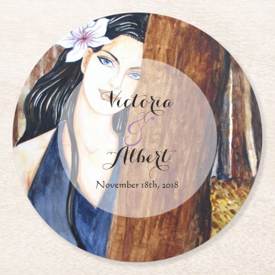 Custom Girl in the Forest Wedding Coaster