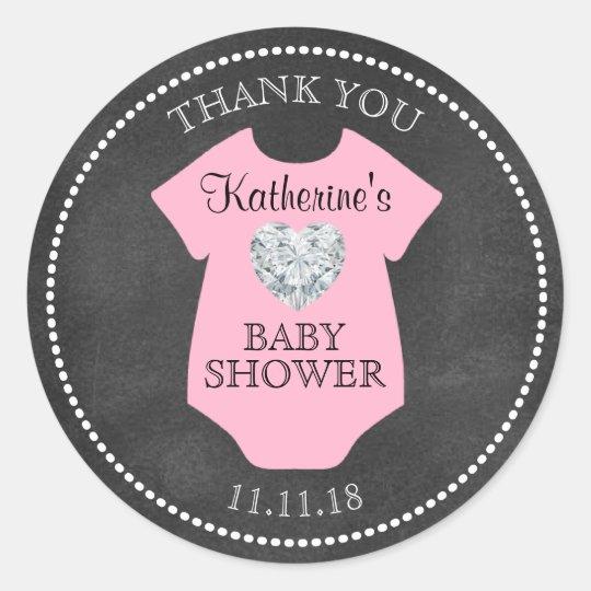 Custom Girl Pink Chalkboard Baby Shower Templates Classic