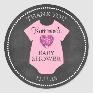Custom Girl Pink Chalkboard Baby Shower Templates Classic Round Sticker