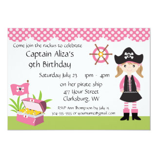 Custom Girl Pirate Birthday Party 13 Cm X 18 Cm Invitation Card