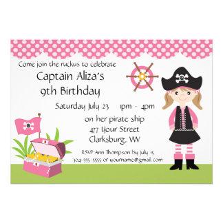 Custom Girl Pirate Birthday Party Custom Invites