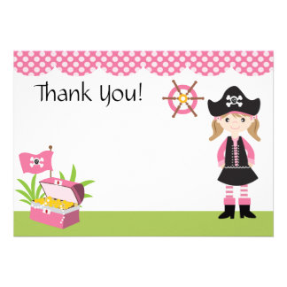 Custom Girl Pirate Thank You Personalized Invitation
