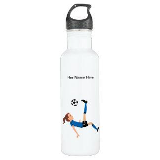Custom Girl Soccer Player Themed Water Bottle