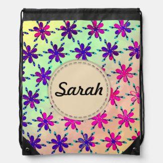 Custom Girls backpack flowers personalised name