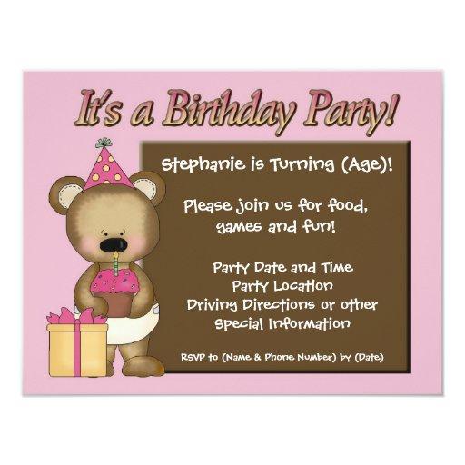 Custom Girl's Birthday Party, Pink Bear Cupcake 11 Cm X 14 Cm Invitation Card