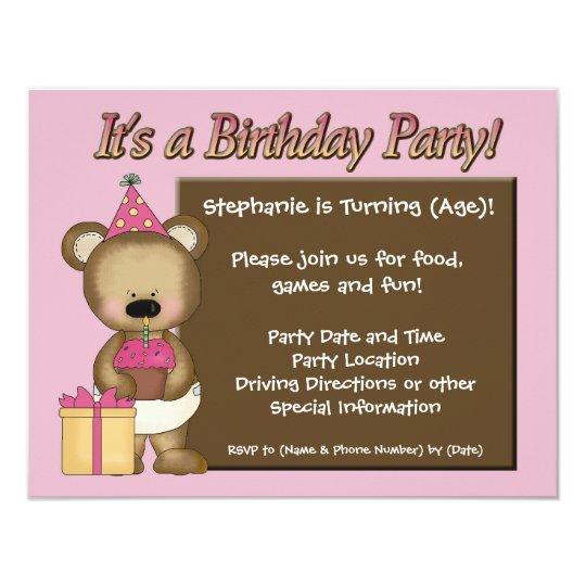 Custom Girl's Birthday Party, Pink Bear Cupcake Card