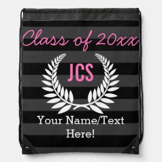 Custom Girls Graduation Party Black Pink Monogram Backpacks