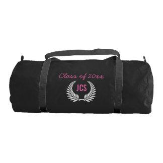 Custom Girls Graduation Party Black Pink Monogram Gym Duffel Bag